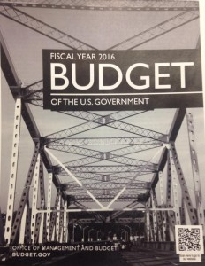 Photo of the cover of President Obama's FY16 Budget Request; credit: Twitter photo from @jonathanweisman, New York Times economic policy reporter