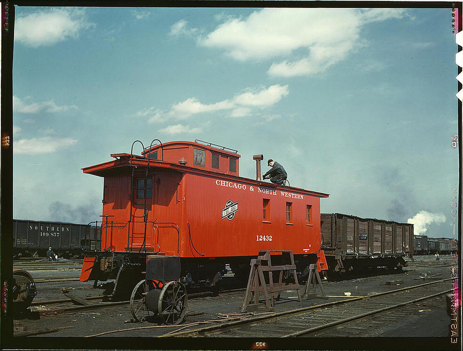 Rebuilt caboose at Proviso yard Chicago IL April 1943 Photo by Jack Delano Prints and Photographs Division Library of Congress